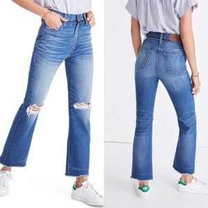 NWOT madewell retro ripped knee crop bootcut jeans